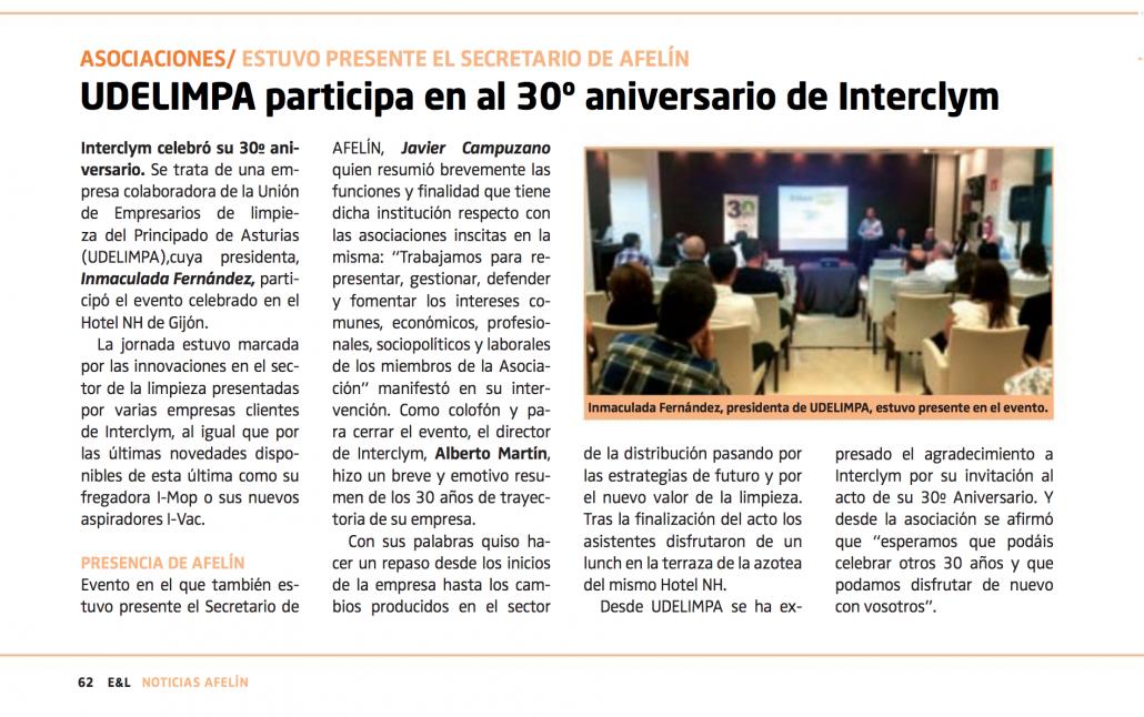 El 30 aniversario de interclym es noticia en la revista for Empresas de limpieza en badajoz